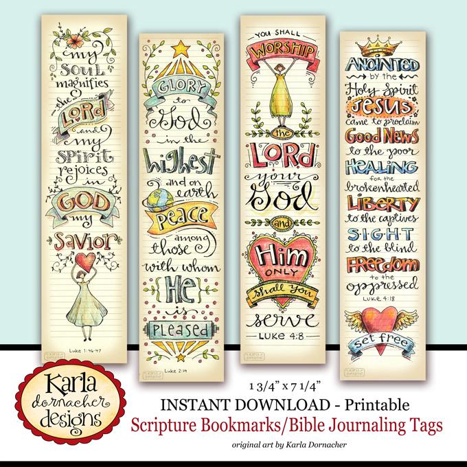 Luke 1-4 Full Color Printable Bookmarks