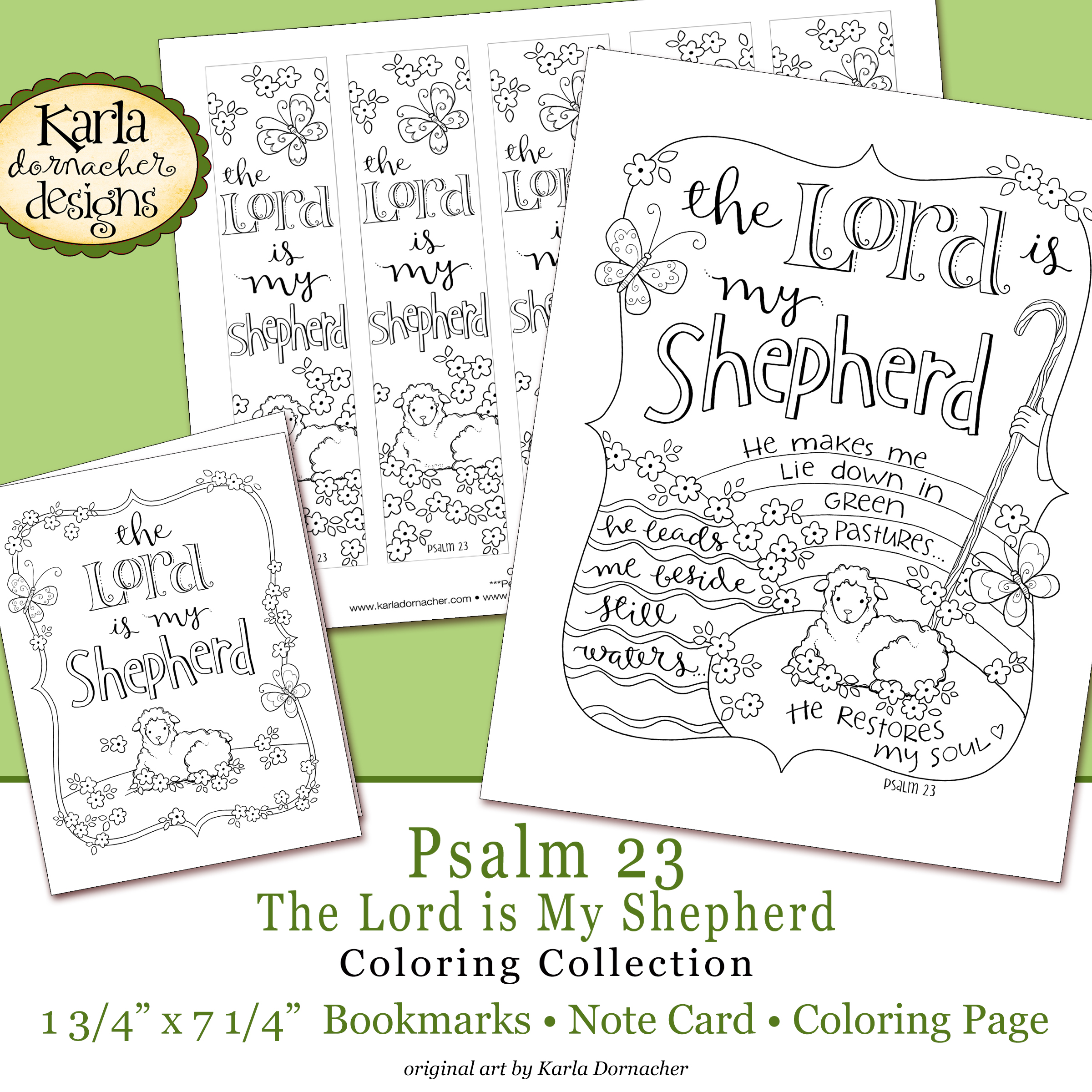 image relating to Printable 23rd Psalm named Easter Psalm 23 Bible Journaling Printable Coloring Range
