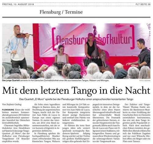 Flenburger Tageblatt, August 2018