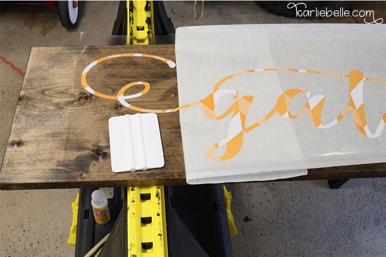 How to Make a Gather Wooden Sign- Vinyl Stencil Application