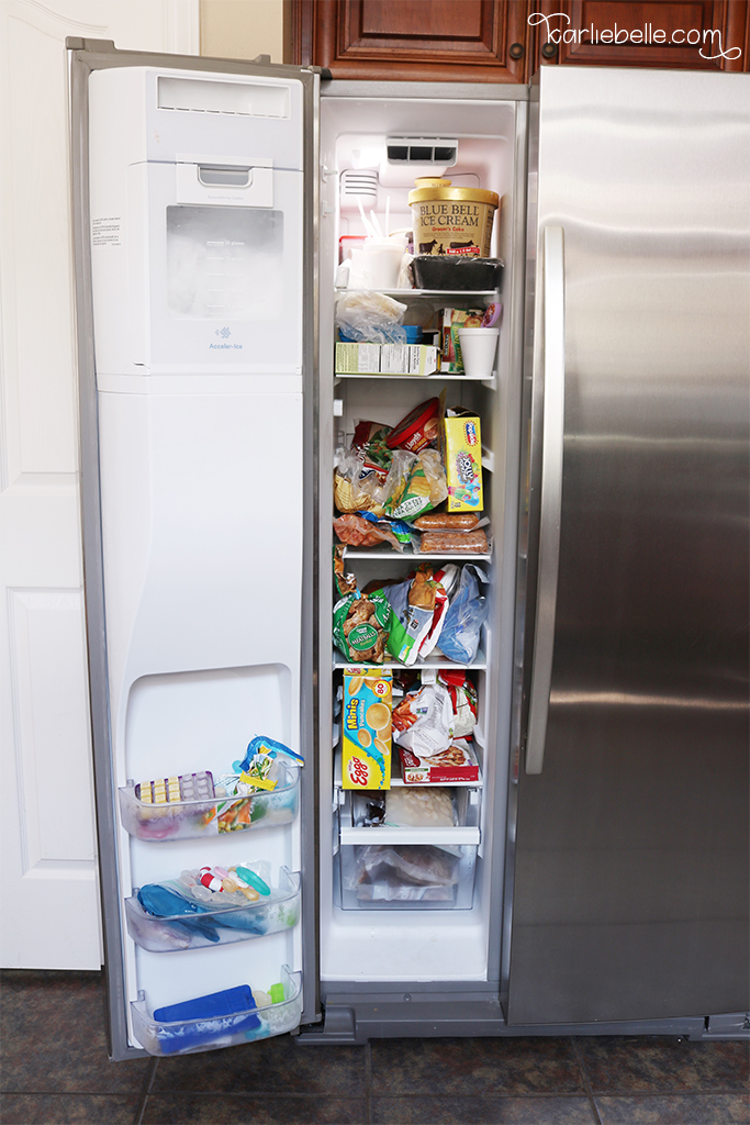 Freezer organization using plastic storage containers and organizing food into groups