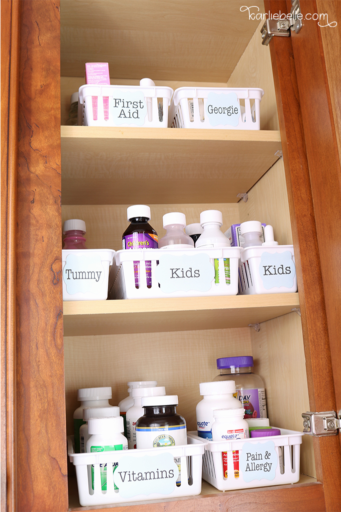 Easy Medicine Cabinet Organization Using Inexpensive Baskets And Labels