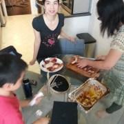 Karen slicing up the chicken