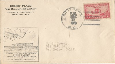 Early Crosby Cachet Cover - Not For Sale
