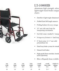 lt-1000 transport wheelchair spec sheet
