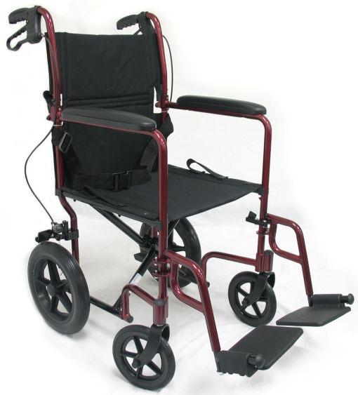 lt-1000 transport wheelchair red