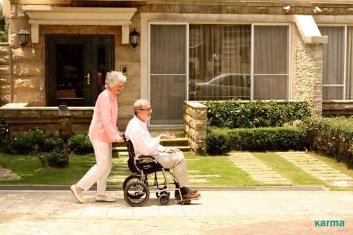 ergo flight wheelchair outside on sidewalk