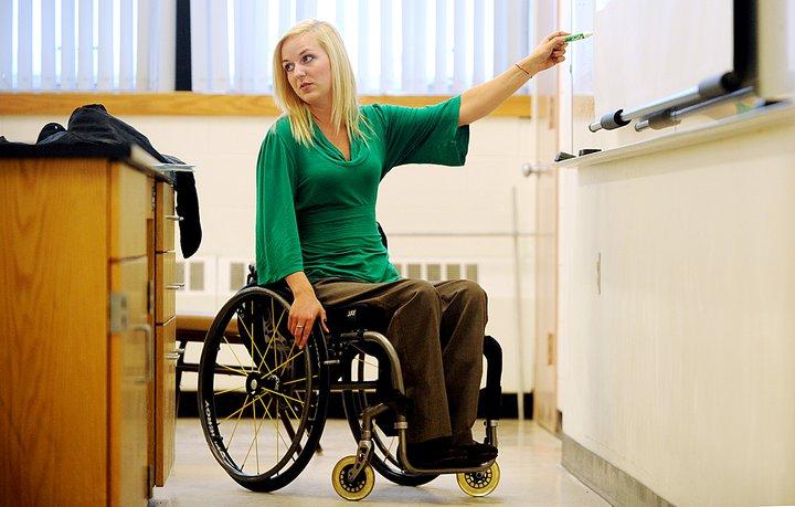 teaching on a wheelchair