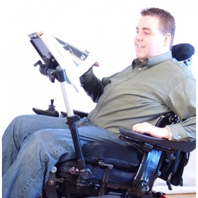 wheelchair and a book