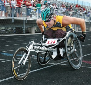 wheelchair is racing
