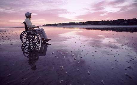 wheelchair in beach