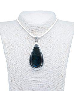 Labradorite Silver Pendant Drop Shape