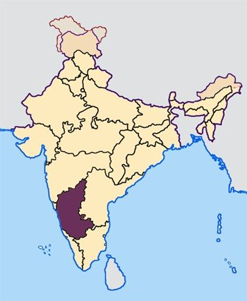 Karnataka in India Map