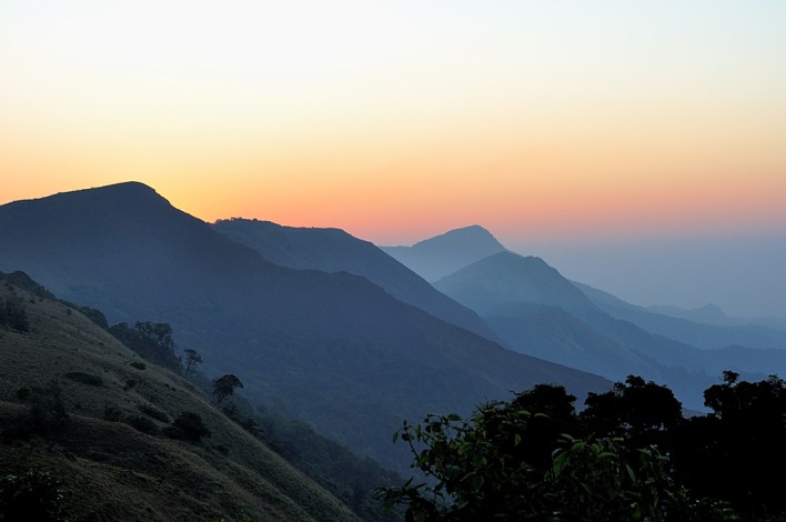 Coorg district, Sunrise at Thadiyandamol hills in Coorg