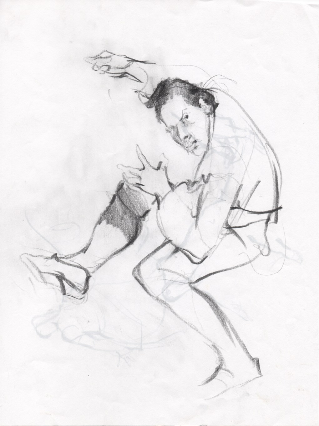 Sketches - Pencil Drawings - Figure Drawing : The sketch of a figure II, pencil drawing.