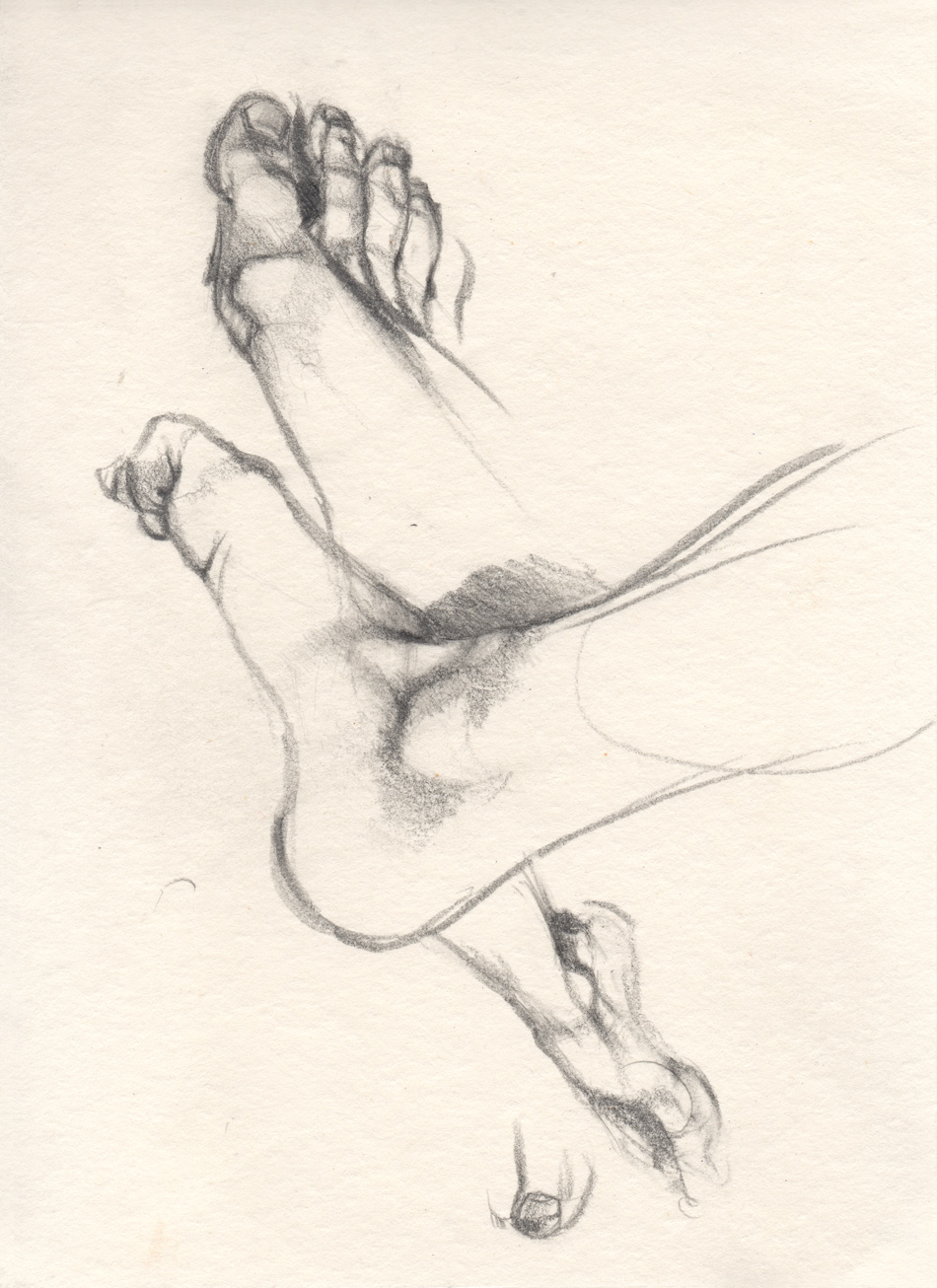 Sketches - Pencil Drawings - Figure Drawing : The studies of my foot, pencil drawing.