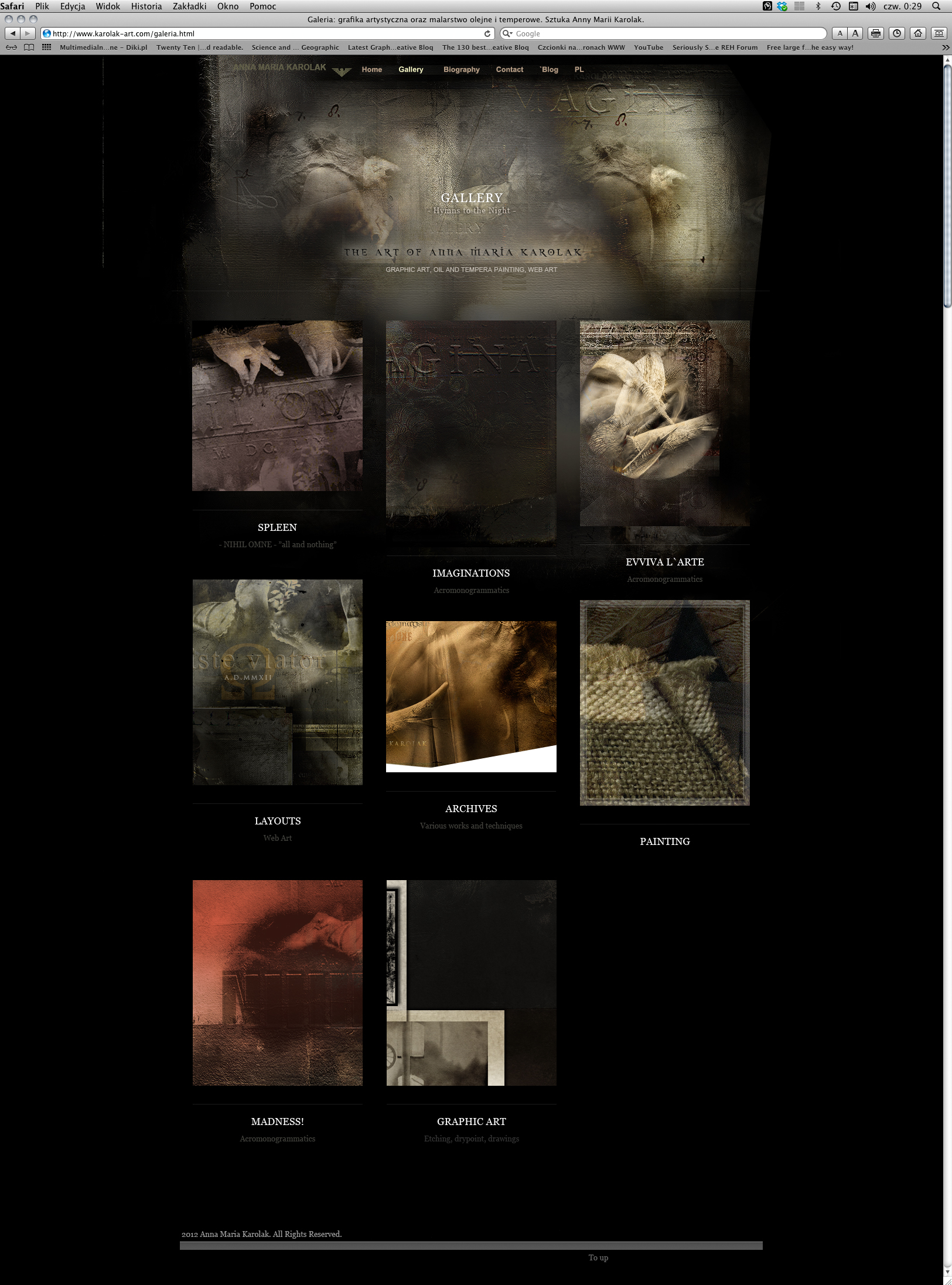 """The final project of the layout for my """"Gallery"""" page in this website in 2012. Artistic Web Design - Web Design for Artist."""