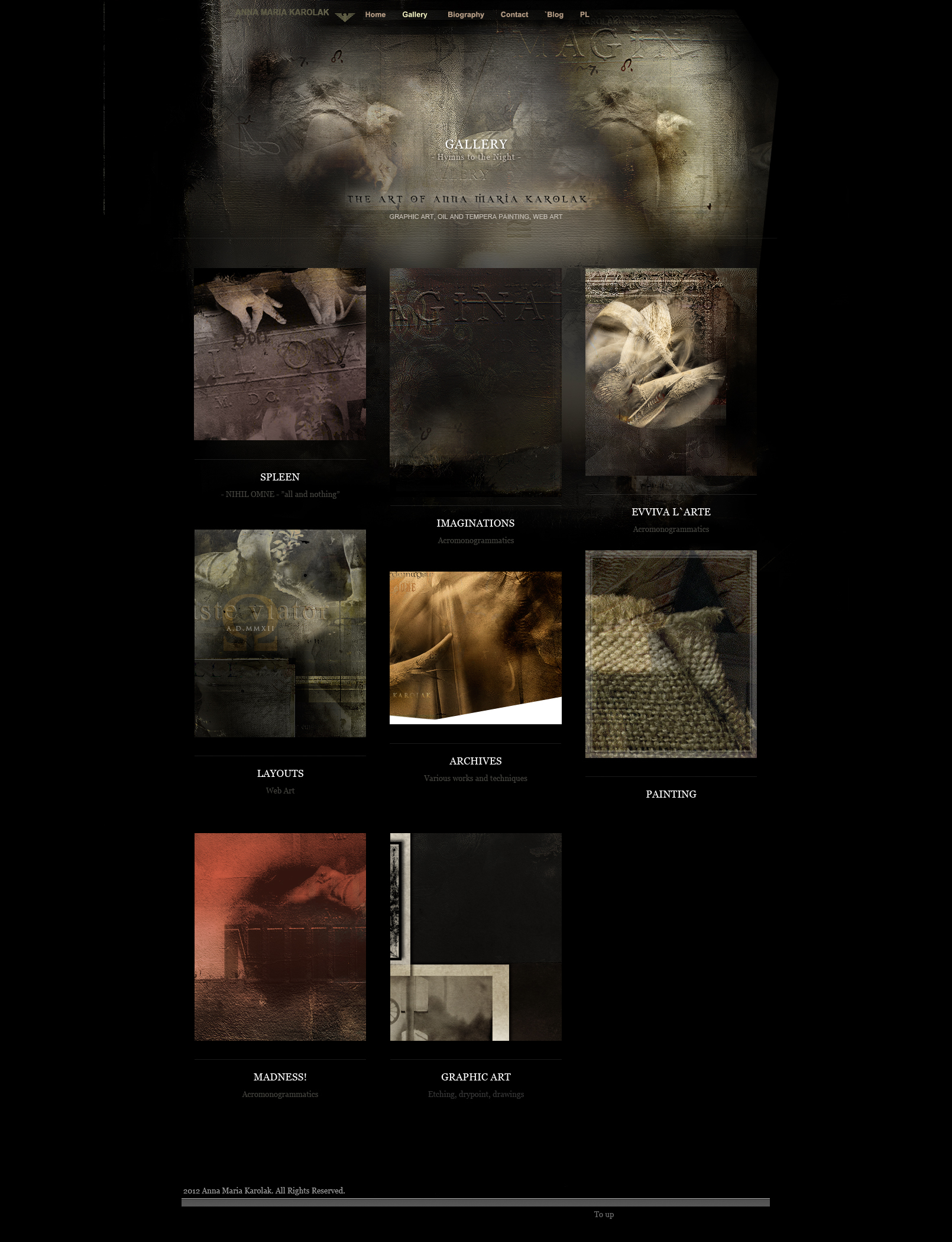 """Artist Web Design Example: the final project of the layout for my """"Gallery"""" page in this website in 2012. Artistic Web Design, Building an Website for Artist."""