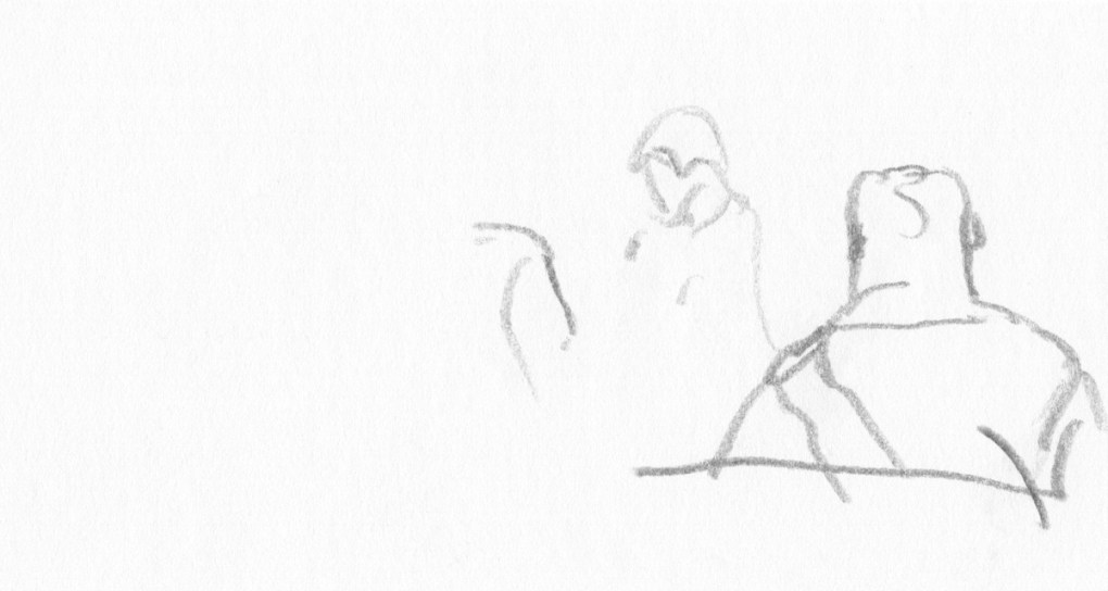Sketches - Pencil Drawings - Figure Drawing : In the Cathedral in Kołobrzeg county in Poland I, pencil drawing, 2017.