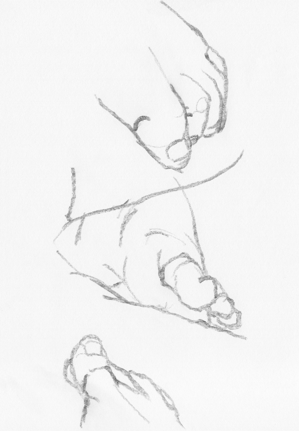 Sketches - Pencil Drawings - Figure Drawing : The sketches of my foot I, pencil drawing, 2017.