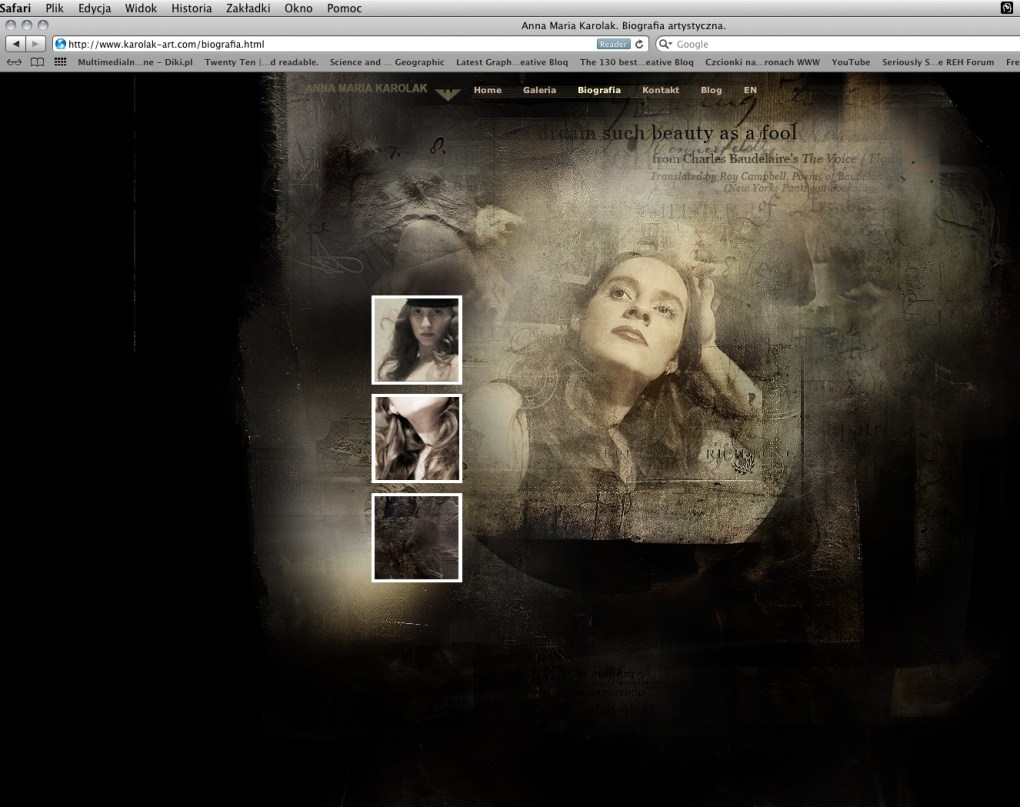 The Art of Web Design - Illustration in Web Design - Illustrated Websites : Here the example of the Artistic Biography page design | Polish Contemporary Artist - Anna Maria Karolak.