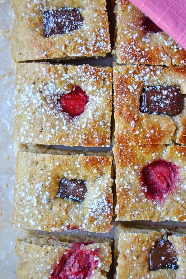 Healthier strawberry & chocolate focaccia