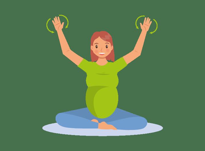 Schwangere macht Bewegungsübung für Hände