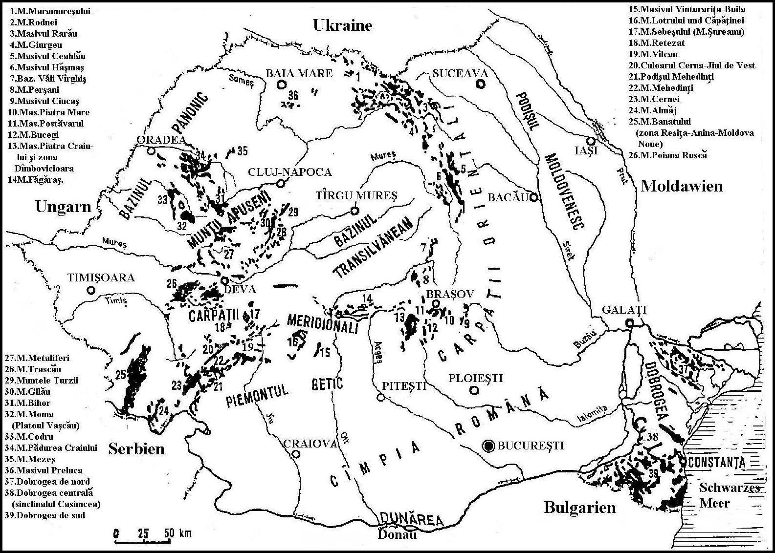 Rumanien Berge Karte