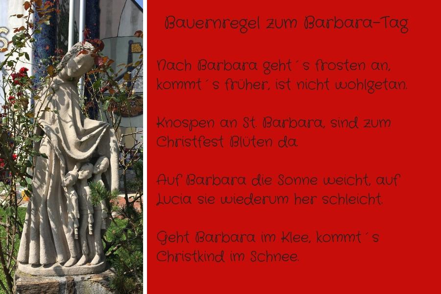 Hl. Barabara vor der Hundertwasserkirche Bärnbach & Bauernregeln