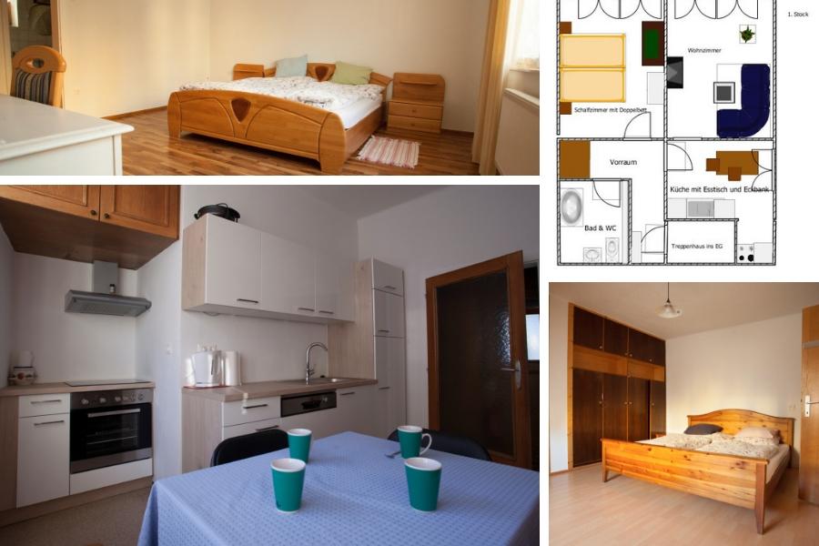 Ferienwohnung Lankowitz - links oben Schlafzimmer 1. Stock, rechts oben Plan 1. Stock, links unten Küche, rechts unten Schlafzimmer 2. Stock
