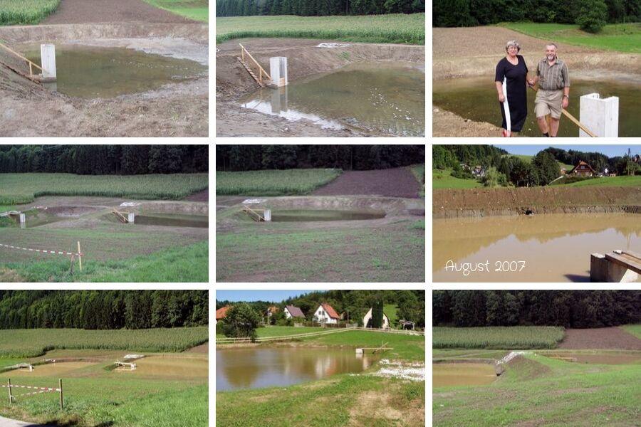 Fluten der Teichanlage im August 2007