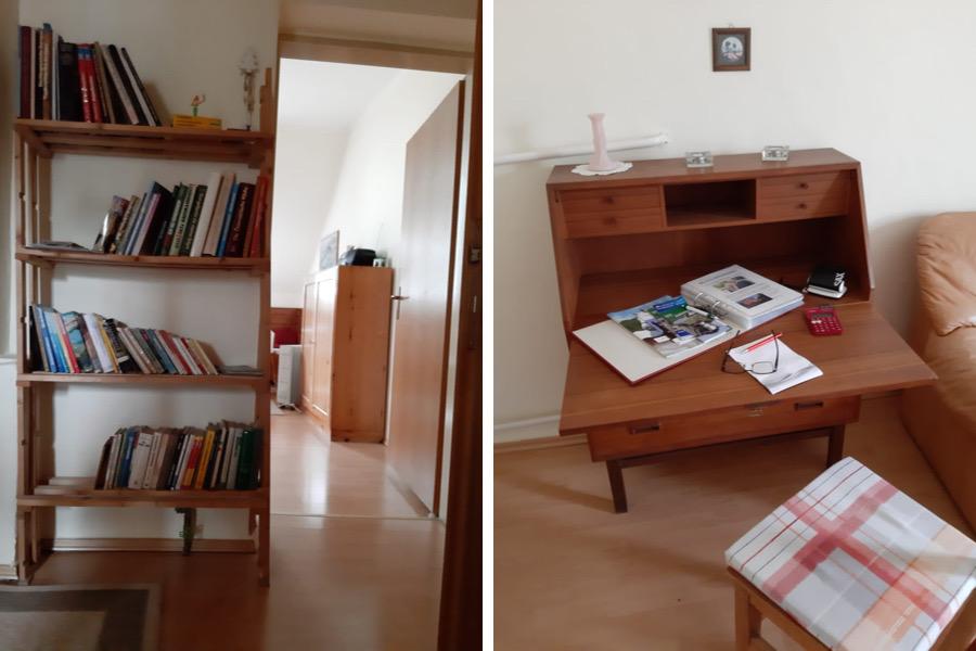 Arbeitsplatz und Lesestoff in der Ferienwohnung inkl. WLAN und Garten