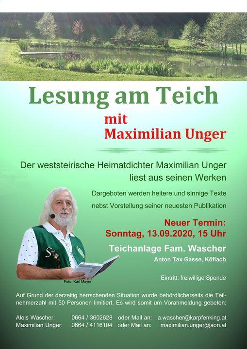 Einladung zu Lesung am Teich, 13.09.2020