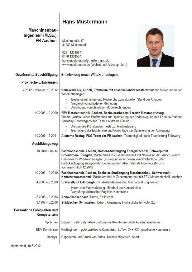 Lebenslauf-Muster EU-CV, Lebenslauf