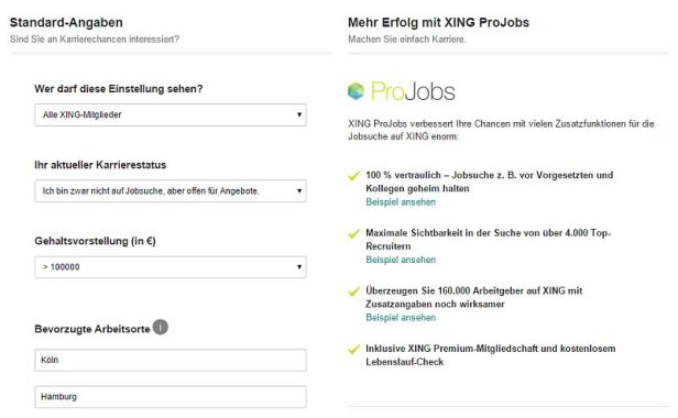 Karrierewünsche oder ProJobs bei Xing