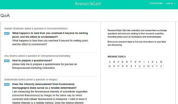 Bereich Questions & Answers bei Researchgate