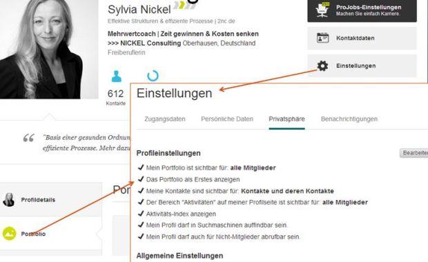 XING-Profil-Einstellungen (c) Sylvia Nickel