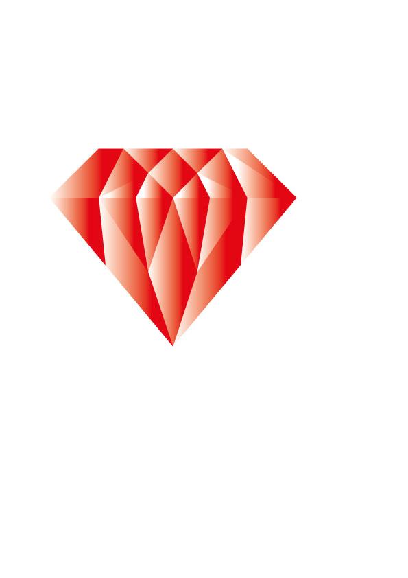 Illustration röd diamant