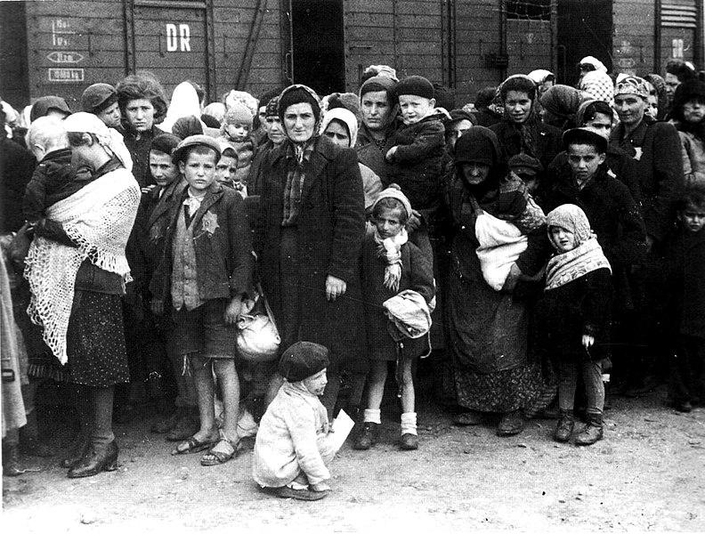 German Nazi death camp Auschwitz in Poland, arrival of Hungarian Jews, Summer 1944. The image is part of the Auschwitz Album (see here and here, Yad Vashem.) See also http://www.zug-der-erinnerung.eu/Bilder/ausalb113.jpg