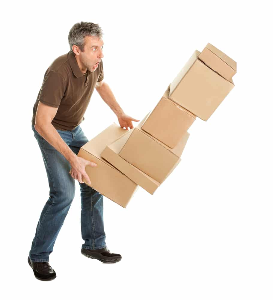 Clumsy, man drops boxes