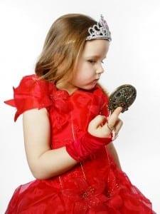 Girl looking in mirror, bulimia, fairy princess, self-image