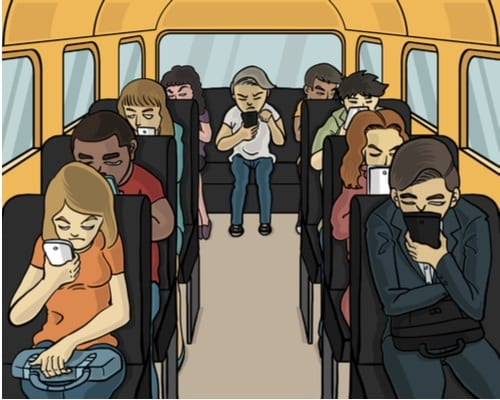 miserable people looking at their smartphones on a bus cartoon