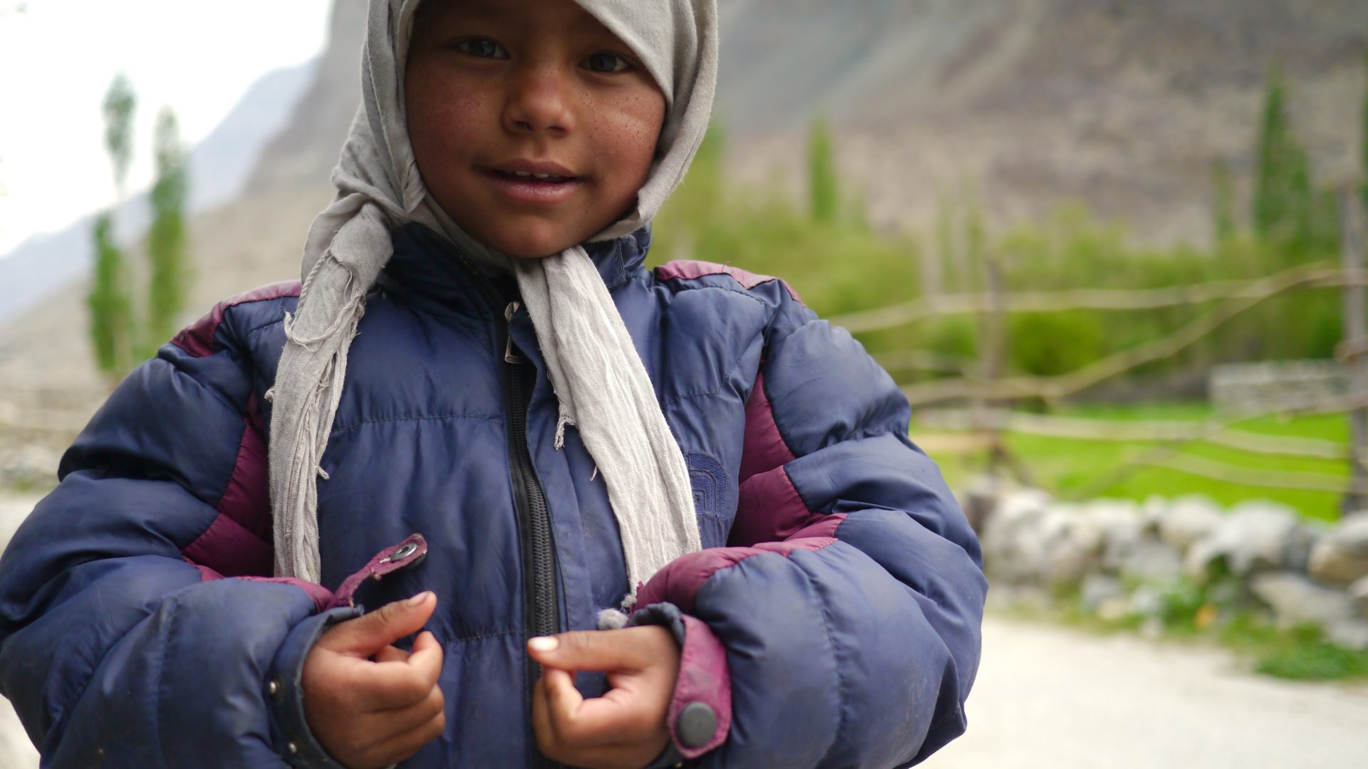 A child in the remote village of Turtuk, the last settlement before the Pakistan border we're allowed to visit.