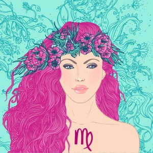 Illustration of virgo astrological sign as a beautiful girl. Vector art.