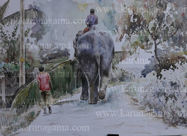 Online, Art, Art Gallery, Online Art Galley, Sri Lanka, Karunagama, Watercolor, Water Colour, Sri lanka Elephants, Elephant paintings, Sri lanka paintings,