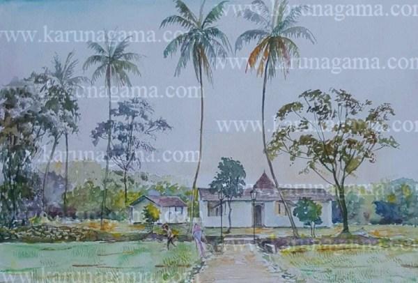 Online, Art, Art Gallery, Online ArWater Colors, Paintings, Sri Lanka, Online Arts, Art Gallery, Sarath Karunagama, Online Art Gallery, Landscape, Ambalama, Nilambe, Doluwa, Devale Paintings, Ganegoda Devale, Landscape, Sri lanka paintings,