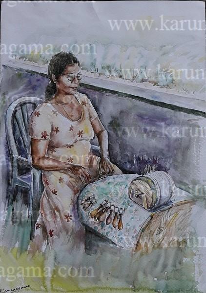 Online, Art, Art Gallery, Online Art Galley, Sri Lanka, Karunagama, Watercolor, Water Colour, Beeralu lace, Sri Lanka Lace, People in Sri Lanka, Sri lanka paintings,