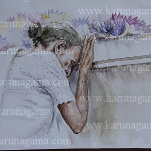 Online, Art, Art Gallery, Online Art Galley, Sri Lanka, Karunagama, Watercolor, Water Colour, Devotees in Sri Lanka, Sil Programms, Sri lanka paintings,