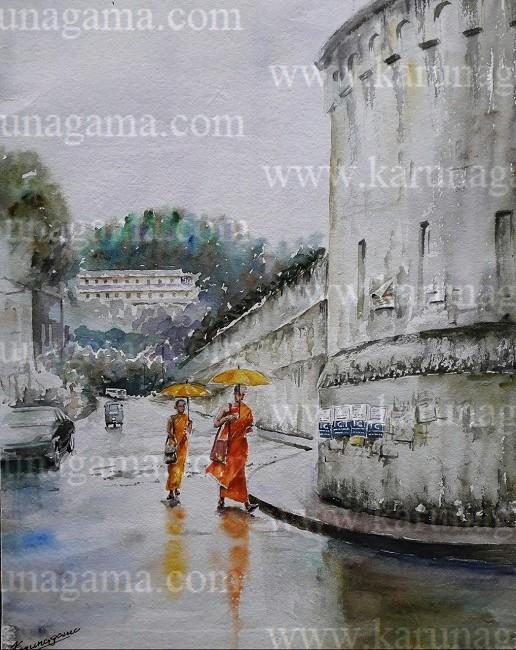Online, Art, Art Gallery, Online Art Galley, Sri Lanka, Karunagama, Watercolor, Water Colour, Kandy Paintings, Prisons in Sri Lanka, Buddhist Monks, Sri lanka paintings,