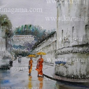 Online, Art, Art Gallery, Online Art Galley, Sri Lanka, Karunagama, Watercolor, Water Colour, Kandy Paintings, Prisons in Sri Lanka, Buddhist Monks, Sri lanka paintings,